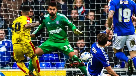 Leon Best opens the scoring for Rotherham in the Ipswich Town v Rotherham United (Championship) matc