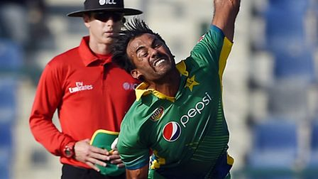 Pakistan's bowler Wahab Riaz during the second one day international match against England at Zayed