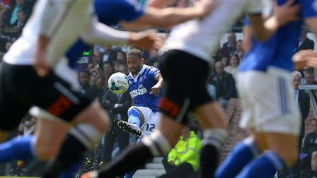 Liam Feeney delivers a first half free-kick at Derby