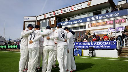 The Essex team head out onto the field for day one of the Specsavers County Championship match at th
