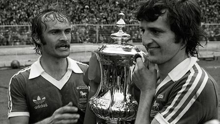 Goal hero Roger Osborne and Mick Mills with the FA Cup at Wembley.