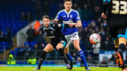 Paul Digby and Marc McNulty in action during the Ipswich Town V Portsmouth (Emirates FA Cup Third Ro