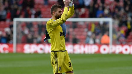 Ipswich keeper Bartosz Bialkowski at Middlesbrough with another good performance