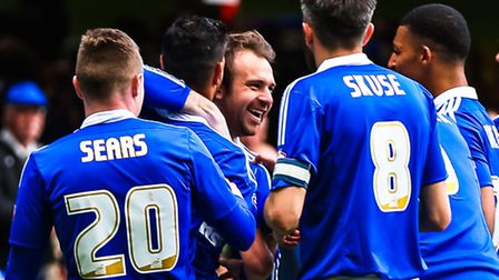 Brett Pitman is all smiles after scoring Towns second goal to take them 2-1 up in the Ipswich Town v