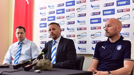 John McGreal has been appointed as Colchester United's First Team Coach. L-R Tony Hulme,Robbie Cowli