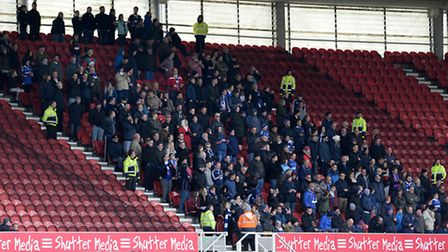 Town fans at The Riverside Stadium in Middlesbrough on Saturday