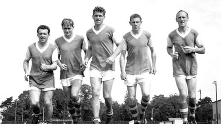 """The Ipswich Town forward line of Roy """"Rocky'' Stephenson, Doug Moran, Ray Crawford, Ted Phillips, an"""
