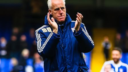 Town manager Mick McCarthy applauds the supporters after the Ipswich Town v Milton Keynes Dons (Cham