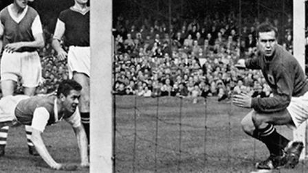 Ray Crawford heads home, on the day Ipswich won the league