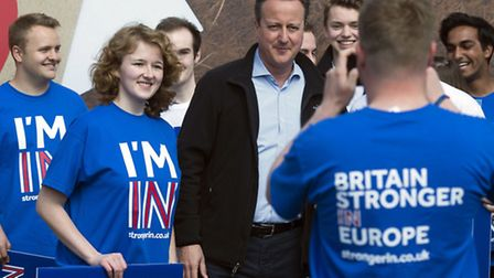 British Prime Minister David Cameron with supporters from a 'Stronger In' campaign event