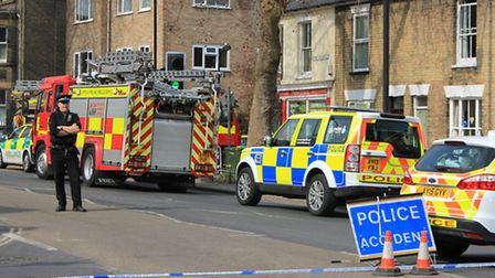 The scene of the crash in Risbygate Street, Bury St Edmunds where a girls took selfies