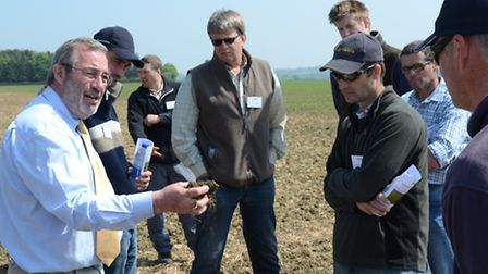 Jeff Claydon of Claydon Drills talking to farmers at one of the firm's open day events.