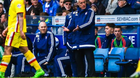 Town manager Mick McCarthy on the touchline during the Ipswich Town v Milton Keynes Dons (Championsh