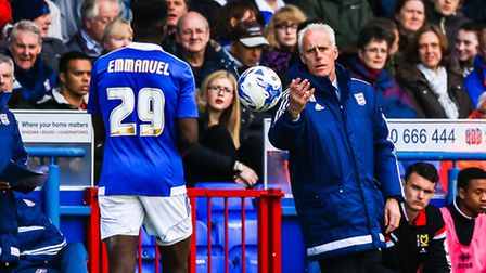 Town manager Mick McCarthy throws the ball to Josh Emmanuel during the Ipswich Town v Milton Keynes