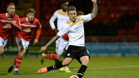 George Moncur, scoring from the penalty spot at Crewe