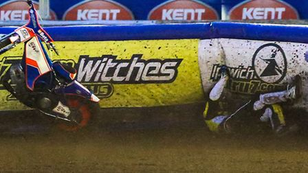 Nico Covatti crashes out on the first bend of heat thirteen of the Ipswich v Edinburgh (Premier Leag