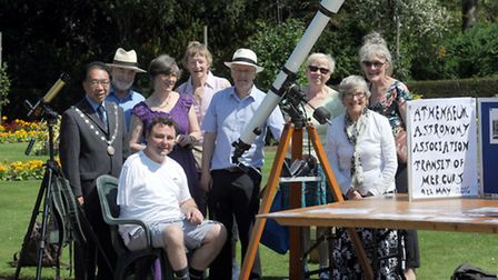 The Athenaeum Astronomy Association watch from the Abbey Gardens in Bury St Edmunds as Mercury pass