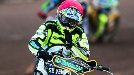 Danny King celebrates victory in the opening heat of the Ipswich v Peterborough (League Cup) meeting