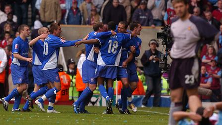 Shefki Kuqi and friends celebrate at West Ham as he makes it 2-2 West Ham v Ipswich Town Football