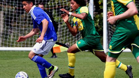 Ipswich Town youngster Tristan Nydam breaks forward during an end-of-season U17 tournament match aga