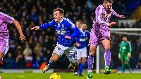Ryan Fraser is fouled in this challenge that saw Oliver Norwood pick up a yellow card in the Ipswich
