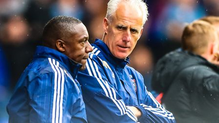Town manager Mick McCarthy and assistant Terry Connor during the Ipswich Town v Brentford (Champions