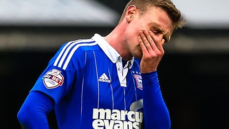 Freddie Sears takes a moment at the final whistle of the Ipswich Town v Brentford (Championship) mat
