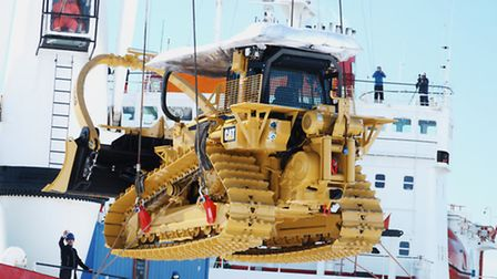 Unloading bulldozers from the SA Agulhas