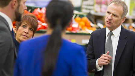 Tesco chief executive Dave Lewis talking to store staff.