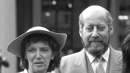 Sir Clement Freud with his wife Jill in 1987. Photo PA