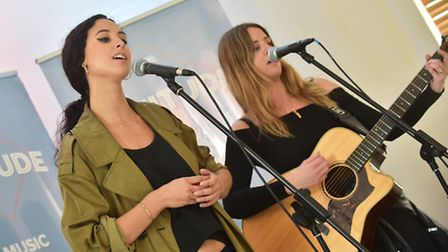 AYA, aka Suffolk sisters Bess and Jayna Cavendish perform at the Latitude Festival comedy arena laun