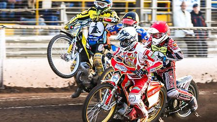 Richie Worrall (white helmet), Ben Barker (red), Rene Bach (yellow) and Paco Castagna battle on the