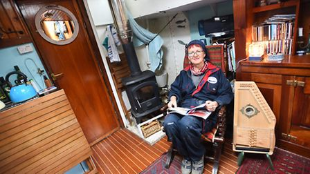 Compact and bijoux: Claudia Myatt in the galley of her old tugboat Else