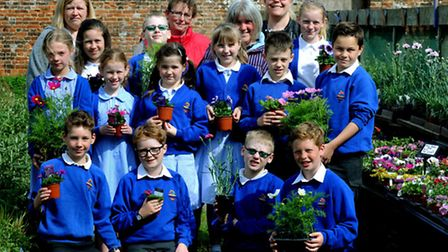 Pupils from Great Barton C of E Primary Academy choosing the plants they will planting in their Show
