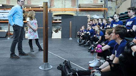 Gary Avis chats to the cast of the Co-op Juniors' production of Starlight Express. Photo: James Flet