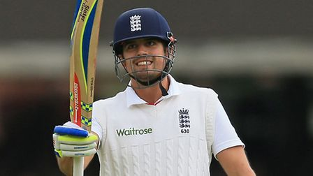 File photo dated 24-05-2015 of England's Alastair Cook celebrates after reaching a century against N