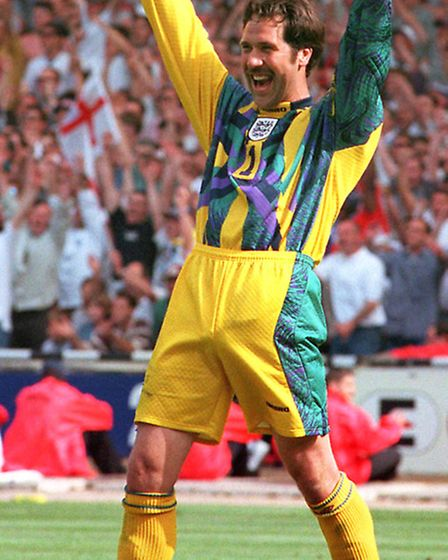 File photo dated 15/06/1996 of England keeper David Seaman after saving a penalty kick from Scotland