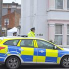 Police investigate the scene of a murder on Old Road in Clacton.