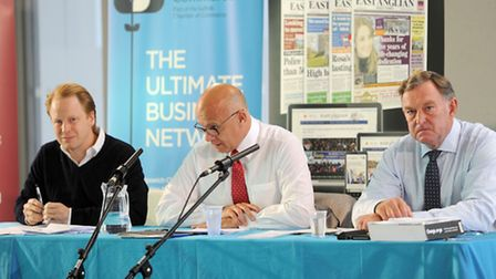 The Suffolk Chamber of Commerce and the EADT EU referendum debate at UCS in Ipswich. L-R: Ben Gummer