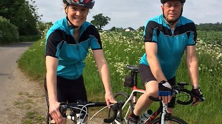 Cycling vets Ella Canham and Roger Harvey, who are planning to cycle around the country to raise mon