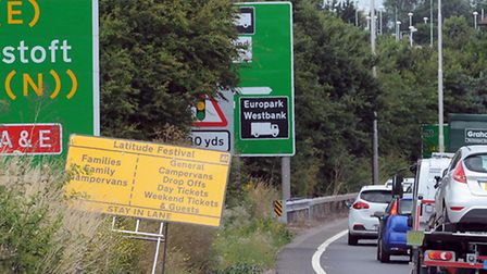 A sign on the A12 directing traffic to Latitude.