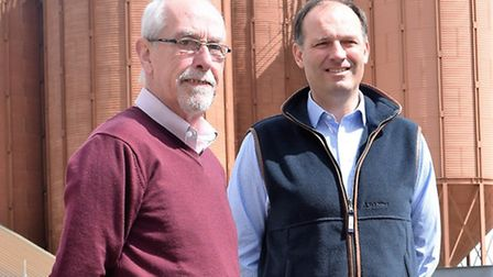 Former Crisp Malting Group managing director Euan Macpherson with his successor Adrian Dyter outside