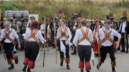 Morris Men group celebrating 40years with a tour around Suffolk. The dancers are pictured at the Net