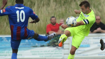 Doug Loft, a U's summer signing from Gillingham, in action at Maldon & Tiptree on Saturday. He shoul
