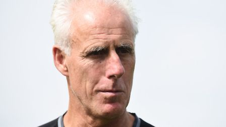 Mick McCarthy speaks to the media yesterday. Phot: Lucy Taylor.