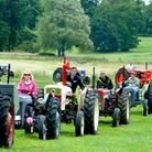 The Mid Suffolk Tractor Run leaving Haughley Park raising funds for Macmillan Cancer Support