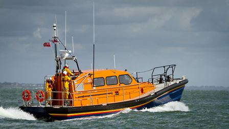 Prototype FCB2 Shannon class lifeboat in Poole Bay. Pic: Nathan Williams.