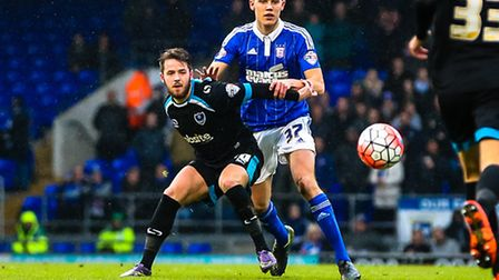 Paul Digby (right) and Marc McNulty in action during Ipswich Town's FA Cup home game against Portsmo