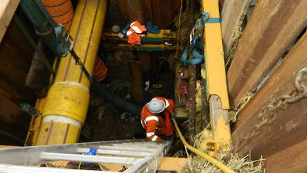 Works to a collapsed sewer in St John's Street, Colchester