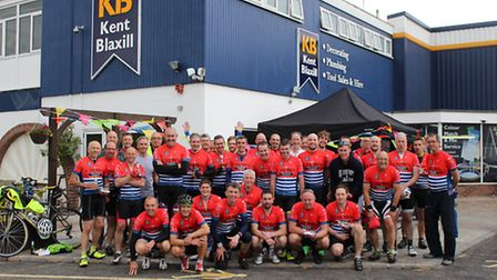 Participants at the start of the 120-mile charity bike ride staff, suppliers and customers of Kent B